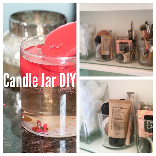 Candle Jar DIY and Makeup Organization