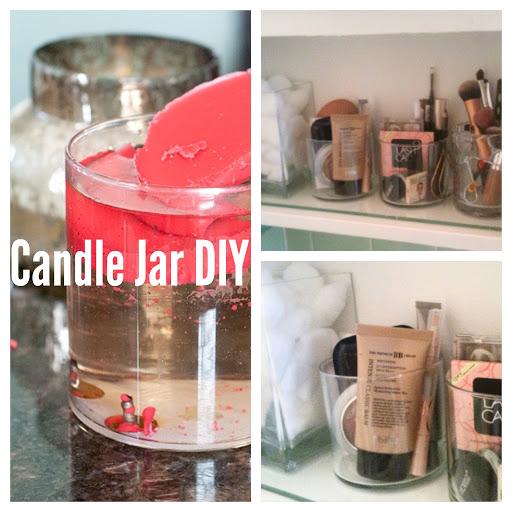 Candle Jar DIY and Makeup Organization