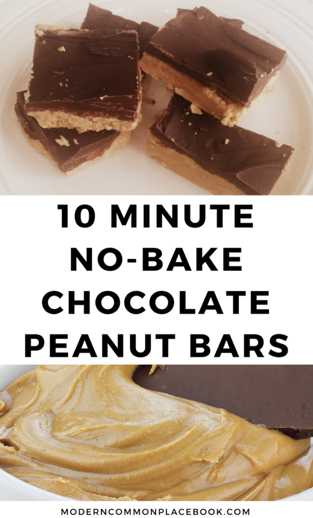 10 Minute No-bake Chocolate Peanut Bars (only 4 ingredients!) - chocolate peanut butter, easy chocolate desserts, easy desserts recipes, easy desserts quick, easy desserts for kids to make, easy desserts with few ingredients, easy desserts for a crowd