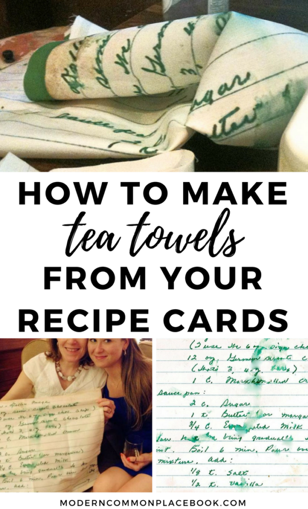 How to make gorgeous tea towels from your family\'s recipe cards - excellent mother\'s day gift!  -- mothers day gift from daughter diy, mothers day gift, diy christmas gifts, diy home decor, diy, diy crafts, mothers day presents, mothers love