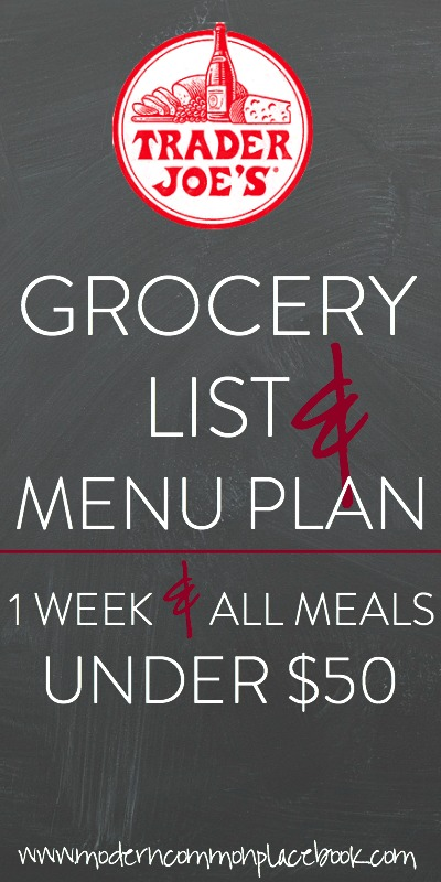 Trader Joe's Menu Plan for 2