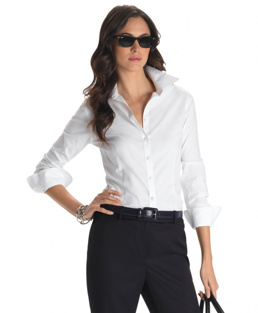 Womens White Fitted Blouses 103