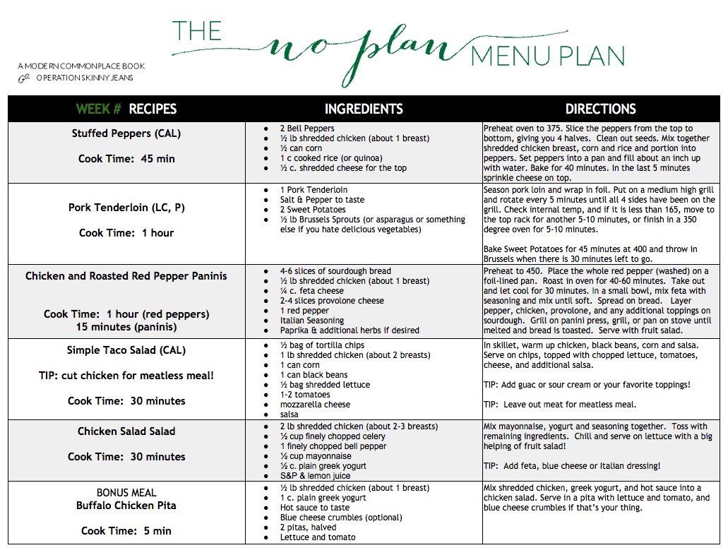 no plan menu plan 15