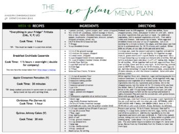 plan menu plan 18