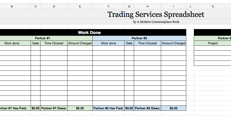 trade services for business advice printable spreadsheet