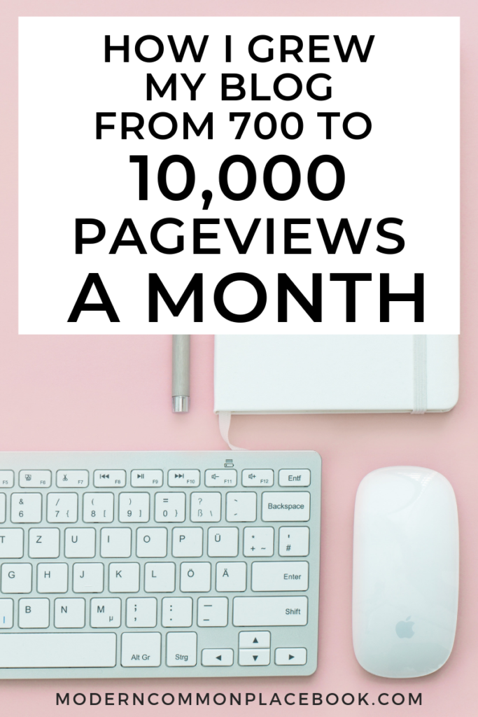 How I grew my blog from 700 to 10,000 pageviews a month!  Learn how to increase blog traffic here.
