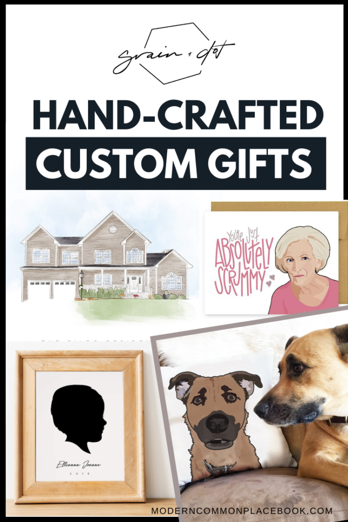 Don\'t miss these Hand Lettered Christmas Gifts - Check out Grain + Dot for Small Business Saturday!  She creates gorgeous custom house portraits, Custom Pet Pillows, Snarky Gift Note cards, Custom Silhouette Portraits, custom christmas gifts, silhouette christmas, christmas family gifts, first married christmas gifts, neighbor gifts christmas, remembering pet, christmas puppy gift, diy dog lover gifts, gifts for dogs christmas, puppy christmas gift, pet christmas, dog gifts christmas, silhouette