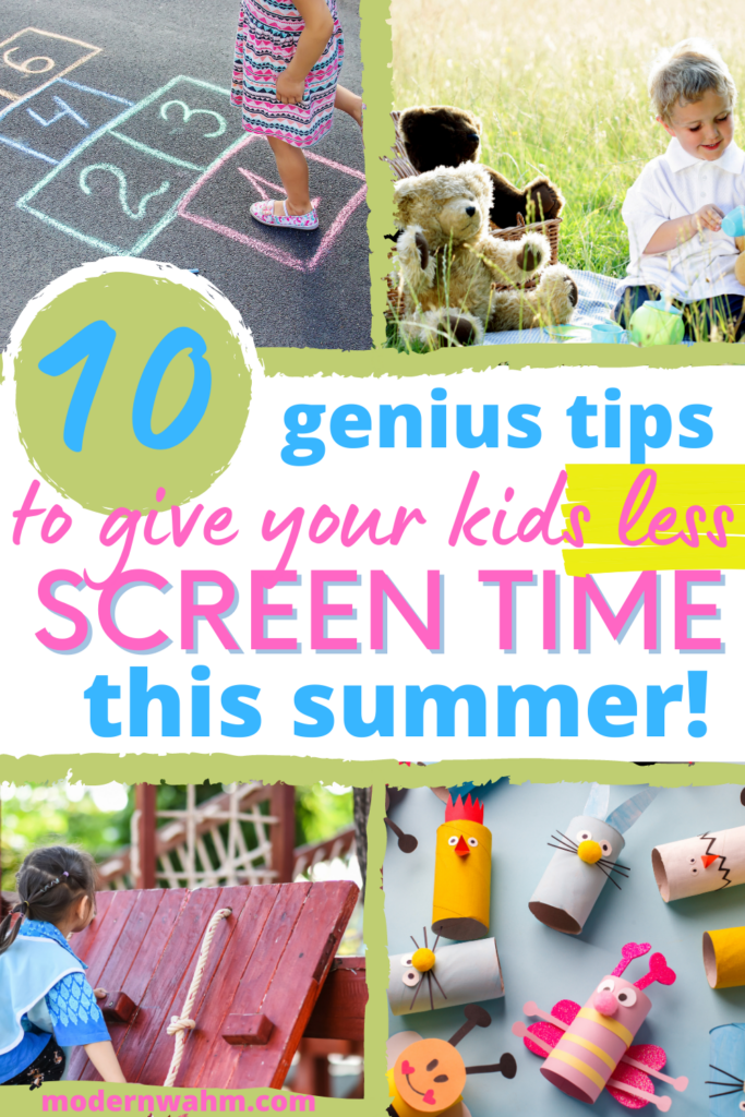 Screen time rules for summer activities 2021. This pin is all about screen time rules and rules for teenagers and kids. Here, we gather the best ideas printables and free screen time resources to help you entertain your kids on school days. Check out these summer activities for kids at home for boys and girls while you work. If you are kids are home this summer (alone or with a working mom), you need these ideas.  Learn more about screen time rules at modernwahm.com.